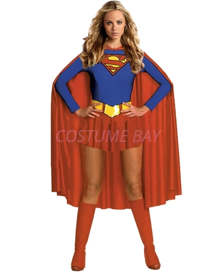 Picture of Superhero Supergirl Super Woman Costume With Long Cape