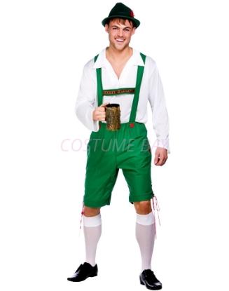 Picture of Mens Lederhosen Oktoberfest Bavarian German Beer Costume Green