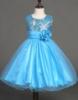 Picture of Girls Floral Formal Wedding Bridesmaids Flower Dress  -Blue