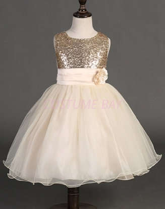 Picture of Girls Floral Formal Wedding Bridesmaids Flower Dress  -Gold