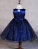Picture of Girls Floral Formal Wedding Bridesmaids Flower Dress  -Navy Blue