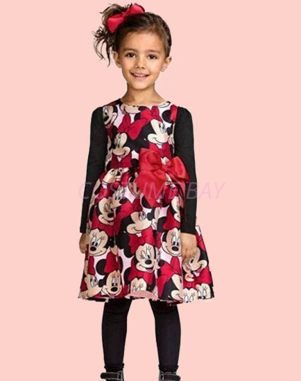 Picture of Girls Flower Mickey Minnie Mouse Bowtie Party Tutu Princess Dress -Red