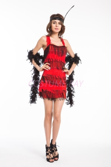 Picture of 1920's Charleston Flapper Dress Back Bow - Black/Red