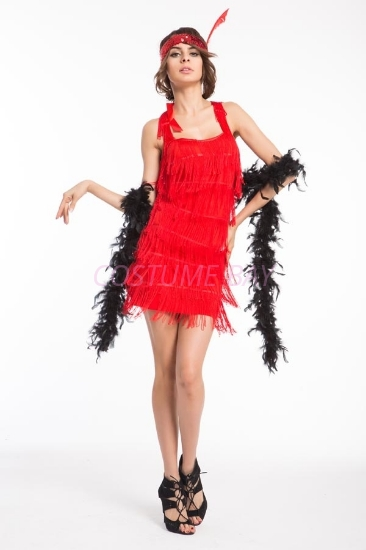 Picture of 1920's Charleston Flapper Dress Back Bow - Red