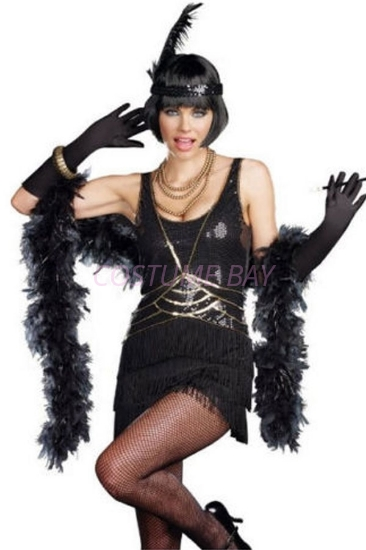 Picture of 1920's Charleston Flapper Dress Black - 006B