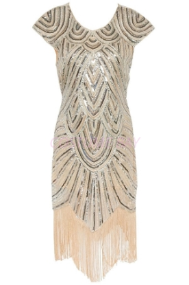 Picture of 1920's Charleston Flapper Dress Beige - 007B