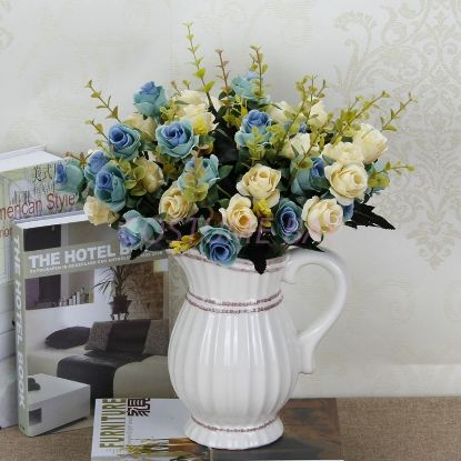 Picture of Bouquet 12 Heads 6 Branches Artificial Silk Roses - Blue