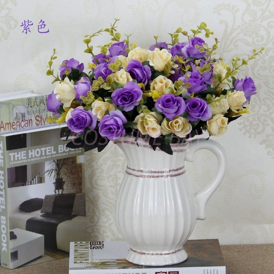 Picture of Bouquet 12 Heads 6 Branches Artificial Silk Roses - Purple