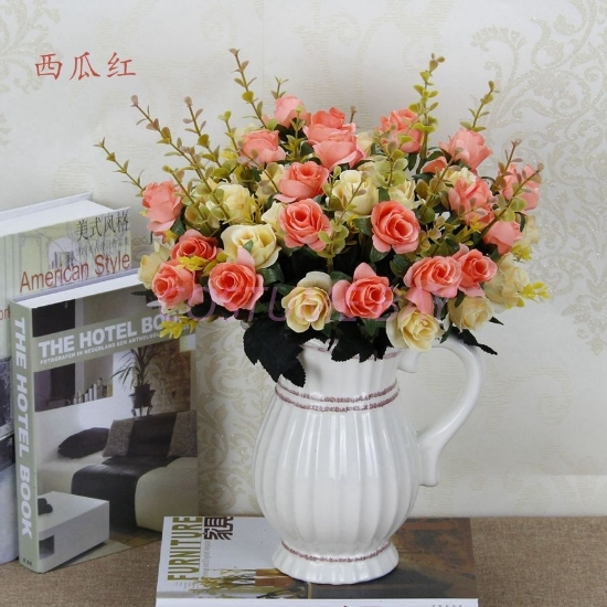 Picture of Bouquet 12 Heads 6 Branches Artificial Silk Roses - Watermelon Red