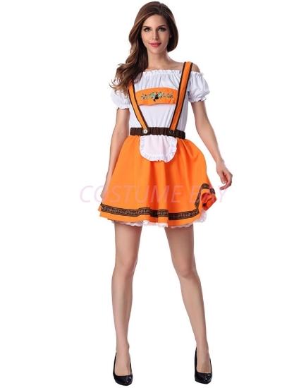 Picture of Ladies Oktoberfest Bavarian Beer Maid Orance  Dress Costume