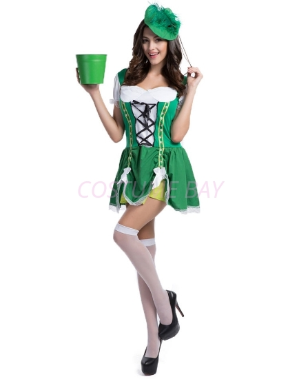 Picture of St Patricks Day Ladies Oktoberfest Irish Beer Maid Green Dress Costume
