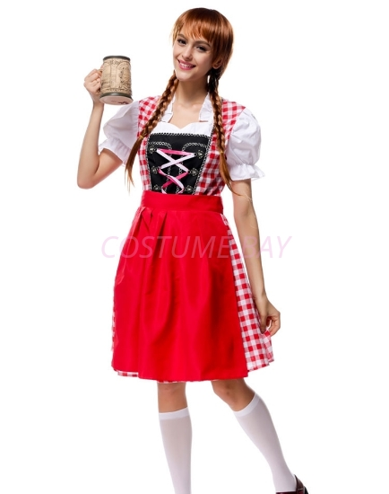Picture of Ladies Oktoberfest Bavarian Beer Maid  Costume with Red Apron