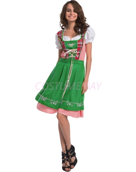 Picture of Ladies Oktoberfest Bavarian Beer Maid  Costume with Green Apron