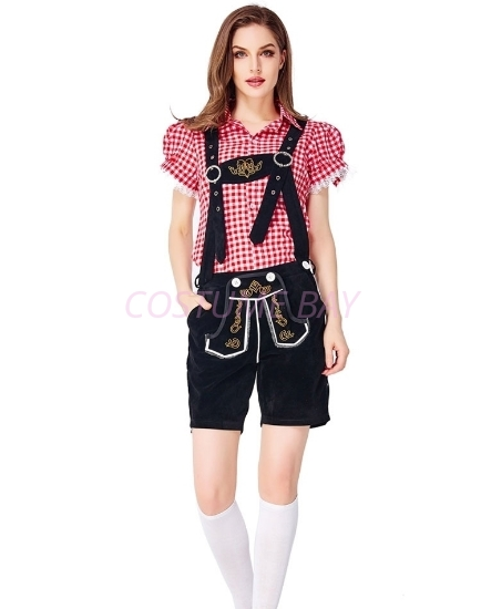 Picture of Ladies Oktoberfest Bavarian Beer Maid Costume Set - Red Shirt + Black Short