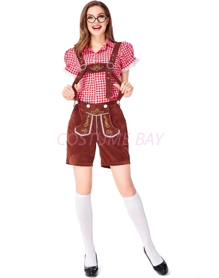Picture of Ladies Oktoberfest Bavarian Beer Maid Costume Set - Red Shirt + Brown Short