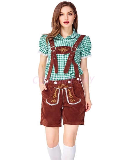 Picture of Ladies Oktoberfest Bavarian Beer Maid Costume Set - Green Shirt + Brown Short