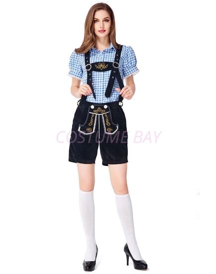 Picture of Ladies Oktoberfest Bavarian Beer Maid Costume Set - Blue Shirt + Black Short