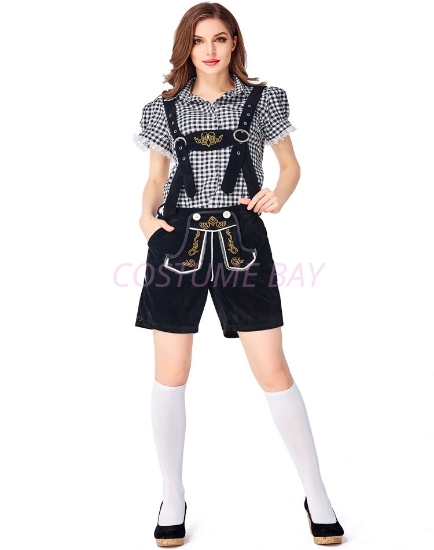 Picture of Ladies Oktoberfest Bavarian Beer Maid Costume Set - Black Shirt + Black Short