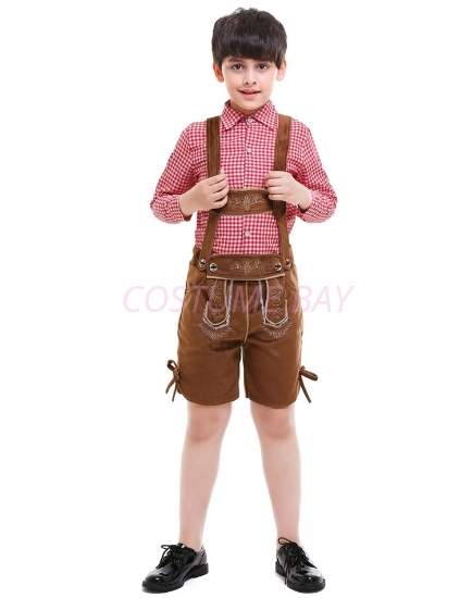 Picture of Boys Lederhosen Oktoberfest Cotton Shirt with Faux Suede Shorts for Book Week