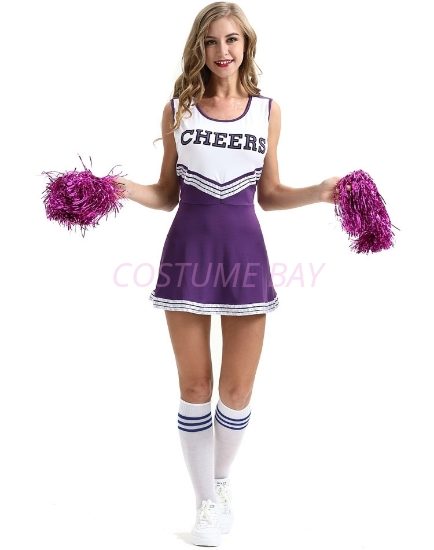Picture of Cheerleader Costume with Pom Pom - Purple