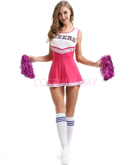 Picture of Cheerleader Costume with Pom Pom - Pink