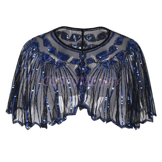 Picture of Vintage Boutique Beaded Sequin Flapper Cape - Black Blue