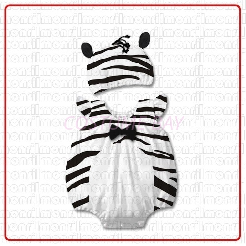 Picture of Baby Rompers Onesie Bodysuit with Hat - Zebra