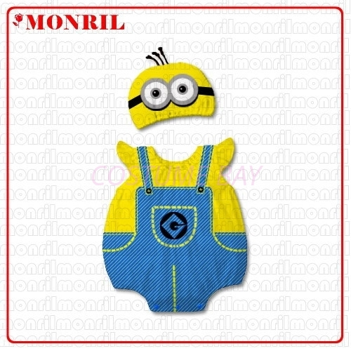 Picture of Baby Rompers Onesie Bodysuit with Hat - Minion