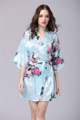 Picture of Women Floral Satin Kimono Robes - Blue