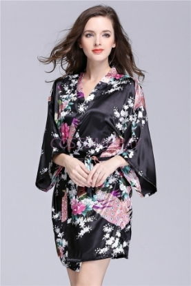 Picture of Women Floral Satin Kimono Robes - Black