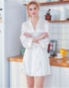 """Picture of Women Bridal """"Bride"""" Satin Kimono Robes -Wine Red"""