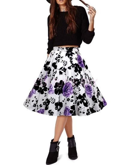 Picture of 50s 60s Vintage Rockabilly Swing Skirt - With PurpleFlower