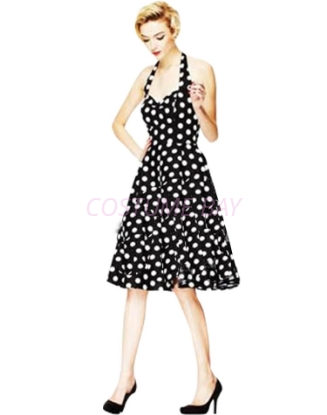 Picture of Rockabilly 50s 60s Vintage Evening Retro Pinup Swing Cocktail Dress-BlackWhite