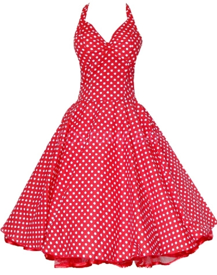 Picture of Rockabilly 50s 60s Vintage Evening Retro Pinup Swing Cocktail Dress-RedWhite