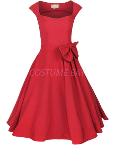 Picture of Rockabilly 50s 60s Vintage Evening Retro Pinup Swing Cocktail Dress-Red