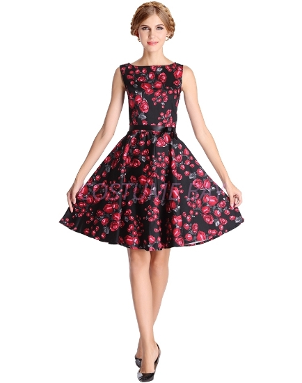 Picture of Rockabilly 50s 60s Vintage Evening Retro Pinup Swing Cocktail Dress-Black with red flow