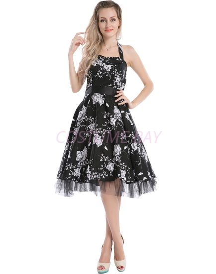Picture of Rockabilly 50s 60s Vintage Evening Retro Pinup Swing Cocktail Dress-Black with white flower
