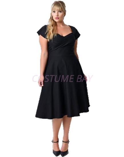Picture of Rockabilly 50s 60s Vintage Evening Retro Pinup Swing Cocktail Dress-Plus Size Black