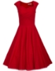 Picture of 50s Rockabilly Vintage Evening Retro Pinup Swing Housewife Floral Polka Dot Dress-Red