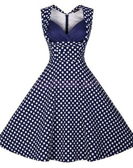 Picture of Women 50s Rockabilly Vintage Evening Retro Pinup Swing Housewife Polka Dot Dress-Blue