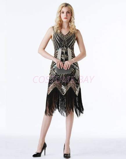 Picture of 1920s Charleston Deluxe Sequins Flapper Costume - Black