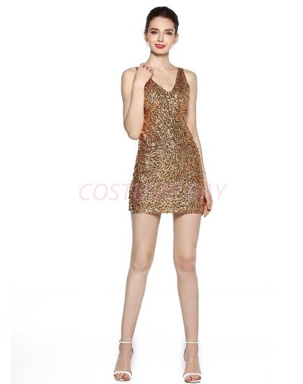 Picture of 1920s Flapper Cocktail Sequin Dress - Gold