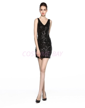 Picture of 1920s Flapper Cocktail Sequin Dress - Black