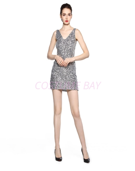 Picture of 1920s Flapper Cocktail Sequin Dress - Sliver