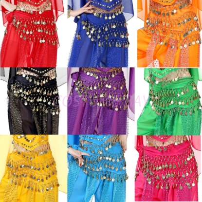 Picture of Belly Dance Hip Scarf Wrap Belt Tribal 128 Coins