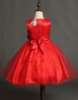 Picture of Girls Floral Formal Wedding Bridesmaids Flower Dress  -Red