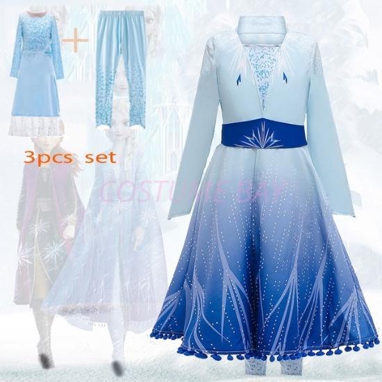 Picture of 3pcs Girls Elsa Princess Costume Dress Set