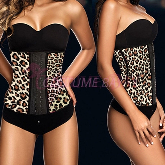 Picture of Women latex Waist Training Corset-Yellow Leopard