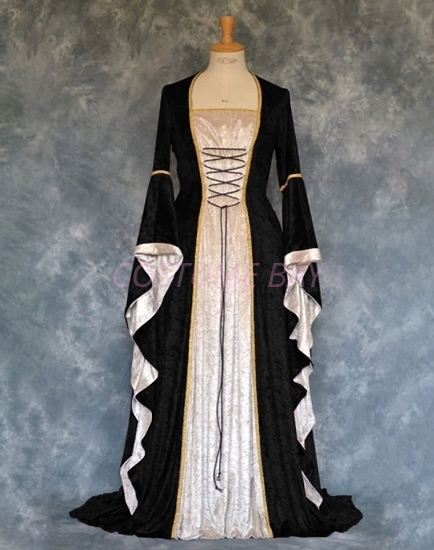 Picture of Womens Medieval Gothic Renaissance Gown Costume - Black