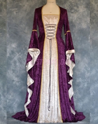 Picture of Womens Medieval Gothic Renaissance Gown Costume - purple